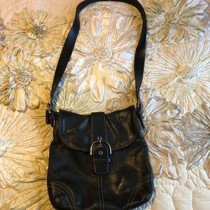 Coach messenger style black leather bag. G3S- 948